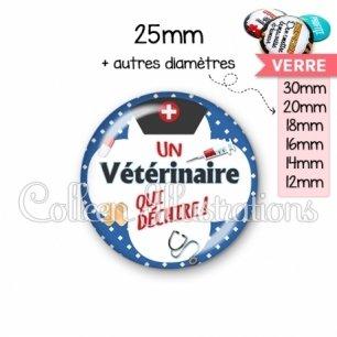 Cabochon en verre Vétérinaire qui déchire (002BLE01)