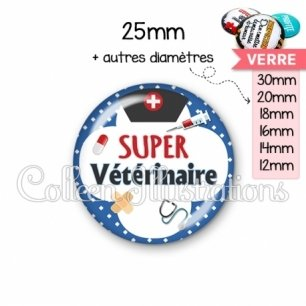 Cabochon en verre Super vétérinaire (002BLE01)