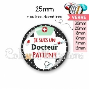 Cabochon en verre Docteur patient (002NOI01)