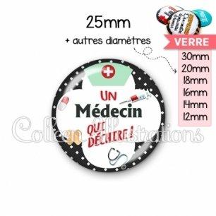 Cabochon en verre Médecin qui déchire (002NOI01)