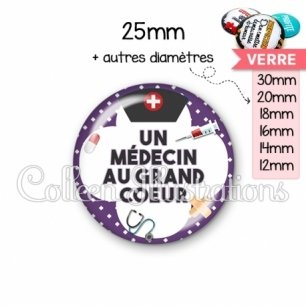 Cabochon en verre Médecin au grand cœur (002VIO01)