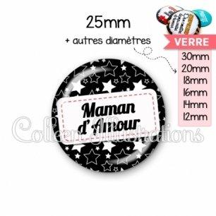 Cabochon en verre Maman d'amour (003NOI02)