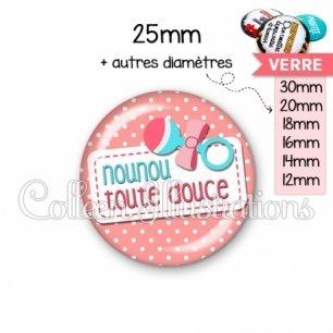 Cabochon en verre Nounou toute douce (003ROS07)