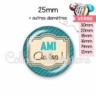 Cabochon en verre Amie au top (004BLE01)
