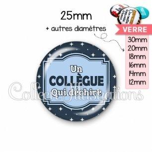 Cabochon en verre Collègue qui déchire (004BLE02)