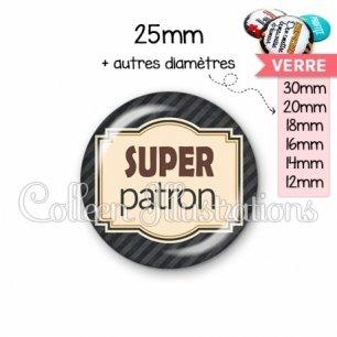 Cabochon en verre Super patron (004NOI01)