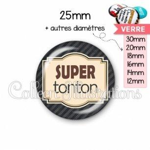 Cabochon en verre Super tonton (004NOI01)
