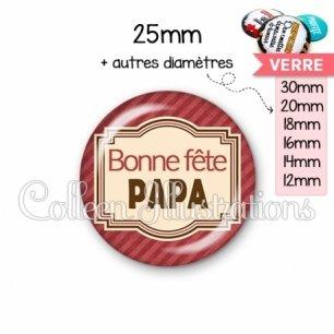 Cabochon en verre Bonne fête papa (004ROU01)