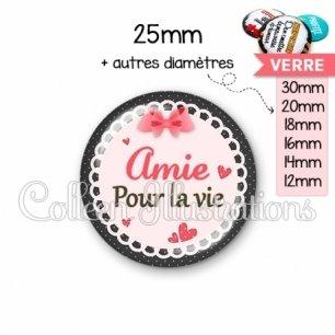 Cabochon en verre Amie pour la vie (005ROS01)