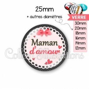Cabochon en verre Maman d'amour (005ROS01)