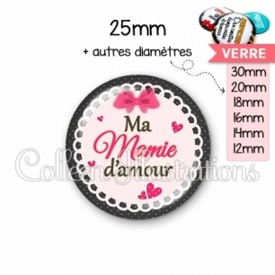 Cabochon en verre Ma mamie d'amour (005ROS04)