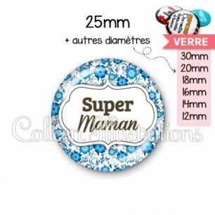 Cabochon en verre Super maman (006BLE02)