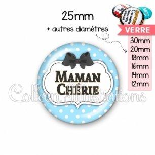Cabochon en verre Maman chérie (006BLE08)