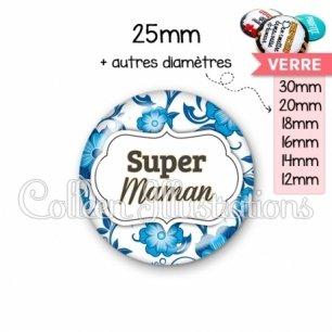 Cabochon en verre Super maman (006BLE11)
