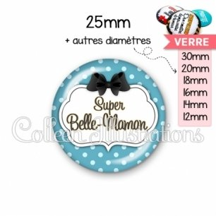 Cabochon en verre Super belle-maman (006BLE12)