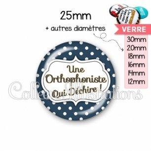 Cabochon en verre Orthophoniste qui déchire (006BLE21)