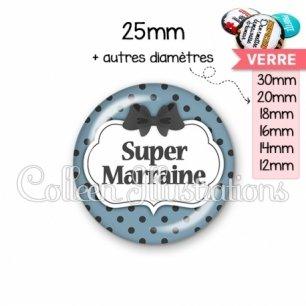 Cabochon en verre Super marraine (006BLE25)