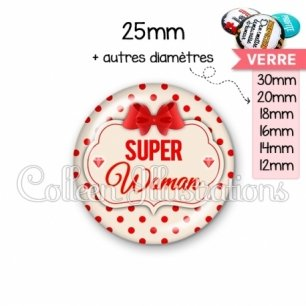 Cabochon en verre Super woman (006MAR03)