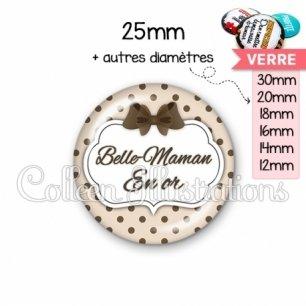 Cabochon en verre Belle-maman en or (006MAR07)