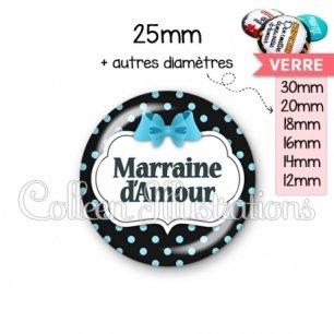 Cabochon en verre Marraine d'amour (006NOI05)