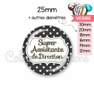 Cabochon en verre Super assistante de direction (006NOI11)