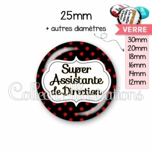 Cabochon en verre Super assistante de direction (006NOI12)