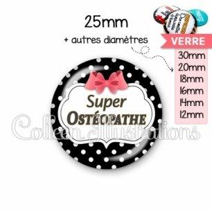 Cabochon en verre Super osthéopathe (006NOI13)