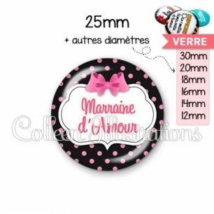 Cabochon en verre Marraine d'amour (006NOI21)