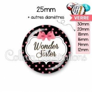 Cabochon en verre Wonder sister (006NOI22)