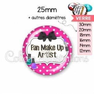 Cabochon en verre Fan make up artist (006ROS04)