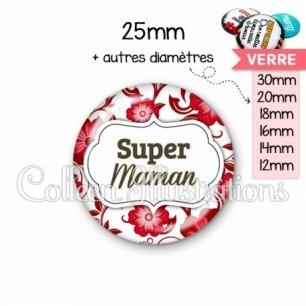 Cabochon en verre Super maman (006ROU01)