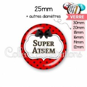 Cabochon en verre Super ATSEM (006ROU03)