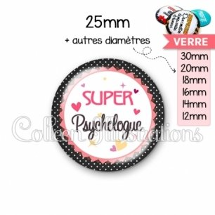 Cabochon en verre Super psychologue (007NOI01)