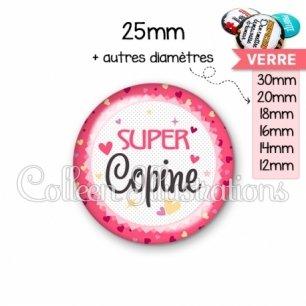 Cabochon en verre Super copine (007ROS01)