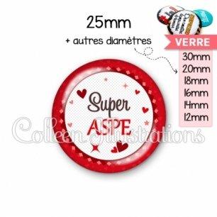 Cabochon en verre Super ASPE (007ROU01)