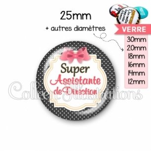 Cabochon en verre Super assistante de direction (008NOI02)