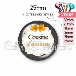 Cabochon en verre Cousine d'amour (008NOI11)