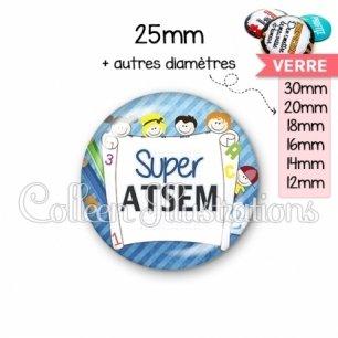 Cabochon en verre Super ATSEM (010BLE01)