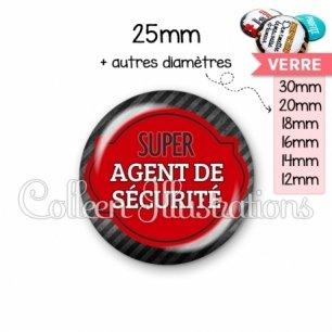 Cabochon en verre Super agent de sécurité (011NOI01)