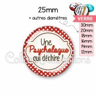 Cabochon en verre Psychologue qui déchire (011ROU01)