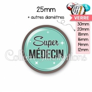 Cabochon en verre Super médecin (012VER01)
