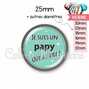Cabochon en verre Papy qui assure (012VER01)
