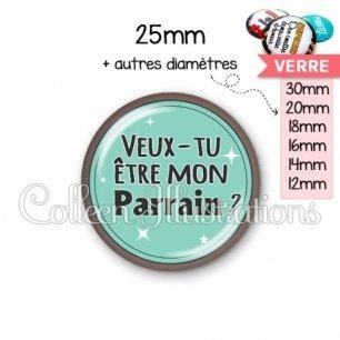 Cabochon en verre Veux-tu être mon parrain (012VER01)