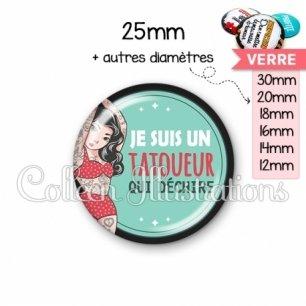 Cabochon en verre Tatoueur qui déchire (012VER02)