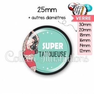 Cabochon en verre Super tatoueur (012VER02)
