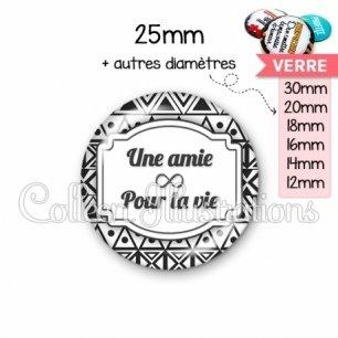 Cabochon en verre Amie pour la vie (013BLA01)