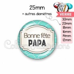 Cabochon en verre Bonne fête papa (013BLE04)