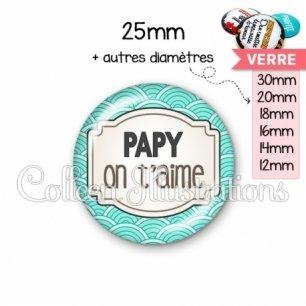 Cabochon en verre Papy je t'aime (013BLE04)