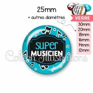 Cabochon en verre Super musicien (013BLE05)