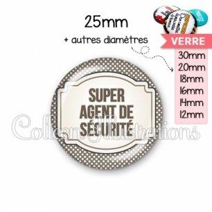 Cabochon en verre Super agent de sécurité (013GRI01)